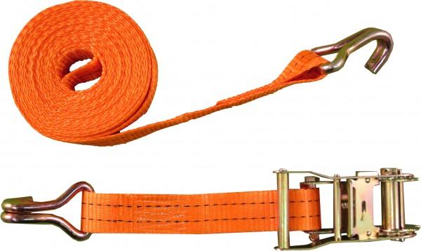Standardzurrgurt 35mm mit Druckratsche und Doppelspitzhaken, 1000 daN