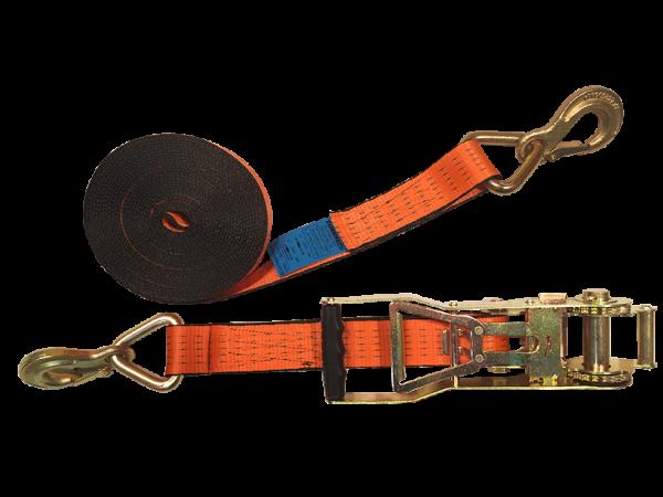 Abriebfester Zurrgurt 50mm mit Langarm-Umkehrratsche und Sicherungszurrhaken