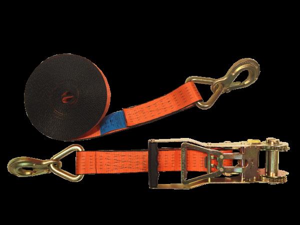 Zurrgurt 50mm mit abriebfesten Band und Langarm-Druckratsche, Sicherungshaken, 2.500 daN